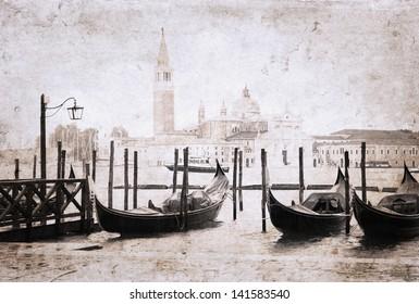 Venice, Italy, artwork in painting style, rain