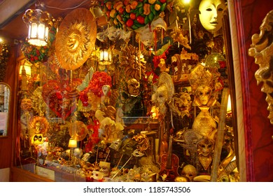 VENICE, ITALY - AUG 10, 2018 - Fancy carnival masks in a shop in Venice, Italy