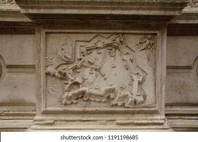 VENICE, ITALY - AUG 10, 2018 - Bas Relief map of fortifications of the city of Candia, Crete on exterior of church in Venice, Italy