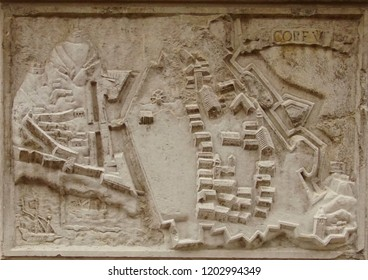 VENICE, ITALY - AUG 10, 2018 - Bas Relief map of fortifications of the city of Corfu on exterior of church in Venice, Italy
