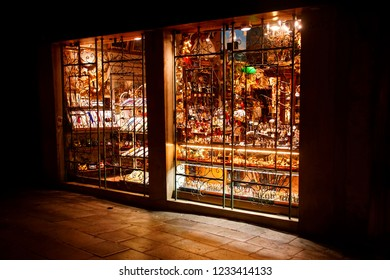 VENICE, ITALY - AUG 10, 2018 - Night time shops closed for business in Venice, Italy