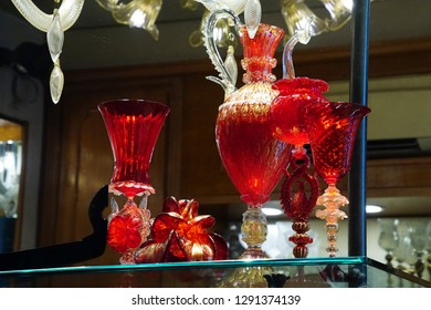 VENICE, ITALY - AUG 10, 2018 - Modern art glass on display in a shop in Venice, Italy