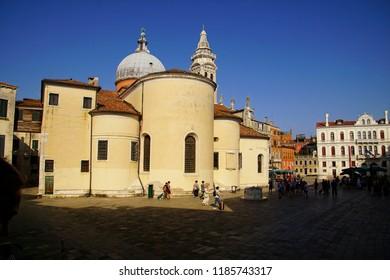 VENICE, ITALY - AUG 11, 2018 - Exterior view of the church of Santa maria Formosa in Venice, Italy