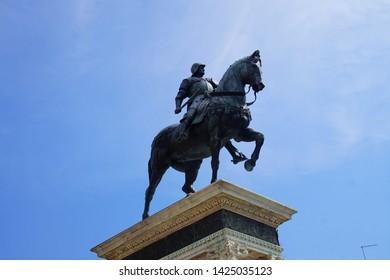 VENICE, ITALY - AUG 11, 2018 - Equestrian statue of Condottiere Bartolomeo Colleoni in Piazza Zanipolo, Venice, Italy