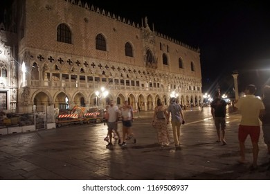 VENICE, ITALY - AUG 12, 2018 - Doge's Palace in the piazza at night, Venice, Italy
