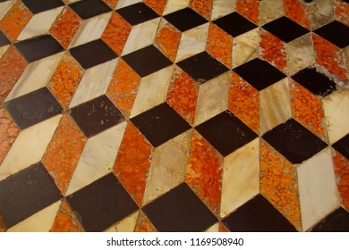 VENICE, ITALY - AUG 12, 2018 - Geometric pattern of inlaid floor in San Giorgio church in Venice, Italy