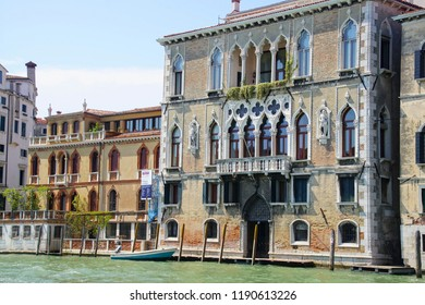 VENICE, ITALY - AUG 12, 2018 - Exterior view of Gothic palace on the Grand Canal of Venice, Italy