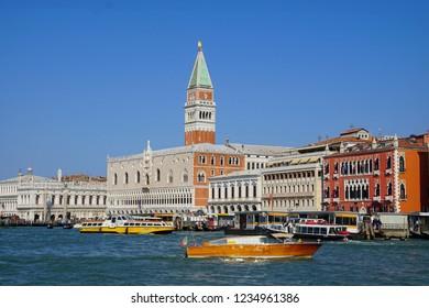 VENICE, ITALY - AUG 12, 2018 - Vaporetto transit boat near Piazza San Marco, Venice, Italy