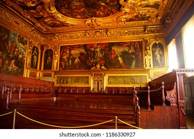 VENICE, ITALY - AUG 13, 2018 - Historical paintings on walls of huge meeting hall in the Doge's Palace in Venice, Italy