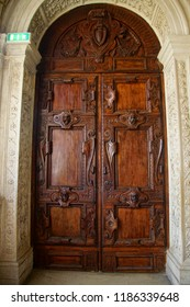 VENICE, ITALY - AUG 13, 2018 - Massive wood doors in the Doge's Palace in Venice, Italy