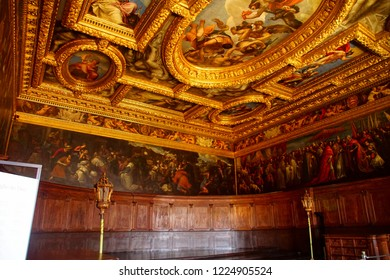 VENICE, ITALY - AUG 13, 2018 - Elaborate gilded decorations of ceiling in the Doge's Palace in Venice, Italy