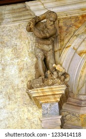 VENICE, ITALY - AUG 13, 2018 - Staute of Hercules killing the Hydra in the Doge's Palace in Venice, Italy