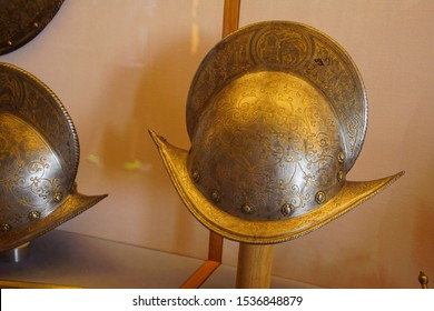 VENICE, ITALY - AUG 13, 2018 - Renaissance infantry helmet in Doge's Palace in Venice, Italy