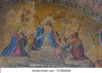 Venice, Italy - AUGUST 10, 2017: The Patriarchal Cathedral Basilica of Saint Mark, known as Saint Mark's Basilica, is the cathedral church of the Roman Catholic Archdiocese of Venice, northern Italy