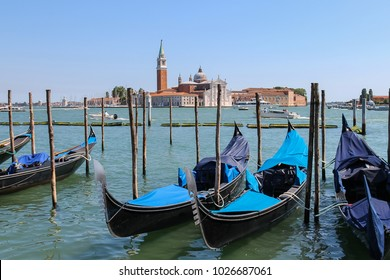 Venice, Italy - August 13, 2016: Empty gondolas at the pier