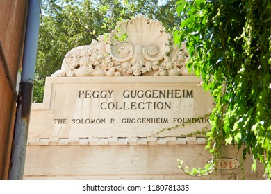 VENICE, ITALY - AUGUST 14, 2017: Peggy Guggenheim Collection museum sign with ivy leaves in Venice in a sunny day, Italy