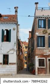 Venice, Italy - August 14, 2017: The narrow cozy streets of Venice