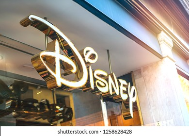 Venice, Italy, August 14, 2018: Walt Disney Company is an American diversified multinational mass media and entertainment conglomerate headquartered at the Walt Disney Studios in Burbank, California.