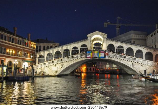 VENICE, ITALY - AUGUST 18, 2014: Ponte di Rialto bridge in Venice Venezia Italy