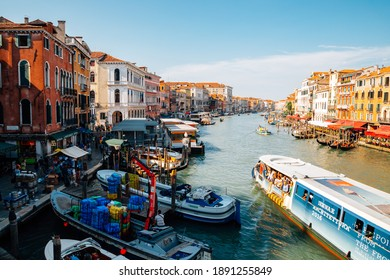 Venice, Italy - August 18, 2016 : Panoramic view of Venetian grand canal