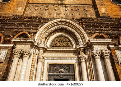 VENICE, ITALY - AUGUST 20, 2016: Famous architectural monuments and facades of old medieval buildings Cannaregio island close-up on August 20, 2016 in Venice, Italy.