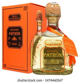 VENICE, ITALY - AUGUST 2019. Bottle of Tequila Patron Reposado 1 liter, 40%Vol.