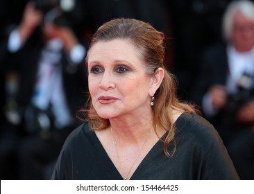 VENICE, ITALY - AUGUST 28: Carrie Fisher attend the Opening Ceremony And 'Gravity' Premiere during the 70th Venice International Film Festival  on August 28, 2012 in Venice, Italy