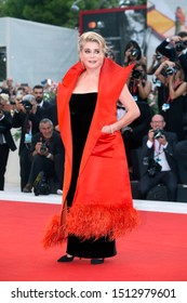 """VENICE, ITALY - AUGUST 28: Catherine Deneuve attends the premiere of the movie """"La Vérité"""" during the 76th Venice Film Festival on August 28, 2019 in Venice, Italy."""