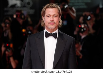"""VENICE, ITALY - AUGUST 29: Brad Pitt attends the premiere of the movie """"Ad Astra"""" during the 76th Venice Film Festival on August 29, 2019 in Venice, Italy."""