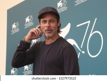"""VENICE, ITALY - AUGUST 29: Brad Pitt attends """"Ad Astra"""" photocall during the 76th Venice Film Festival at Sala Grande on August 29, 2019 in Venice, Italy"""