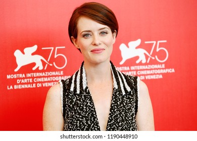 VENICE, ITALY - AUGUST 29:  Claire Foy attends the photo-call of the movie 'First Man' during the 75th Venice Film Festival  on August 29, 2018 in Venice, Italy.