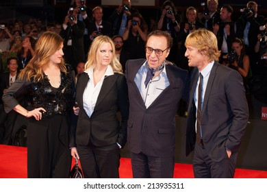 VENICE, ITALY - AUGUST 29: Kathryn Hahn, Louise Stratten, Peter Bogdanovich and Owen Wilson attend the 'She's Funny That Way' - Premiere on71st Venice Film Festival on August 29, 2014 in Venice, Italy