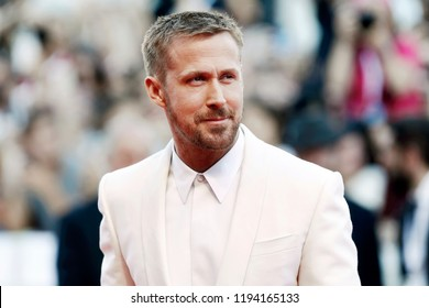 VENICE, ITALY - AUGUST 29: Ryan Gosling attends the premiere of the movie 'First Man' and the opening gala during the 75th Venice Film Festival on August 29, 2018 in Venice, Italy.