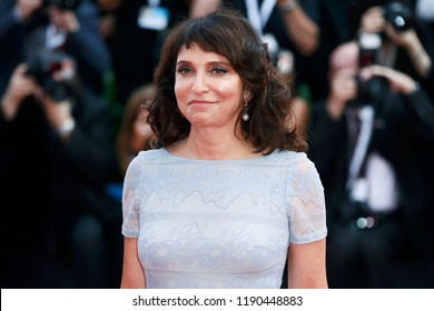 VENICE, ITALY - AUGUST 29: Susanne Bier walks the red carpet of the opening ceremony during the 75th Venice Film Festival on August 29, 2018 in Venice, Italy.