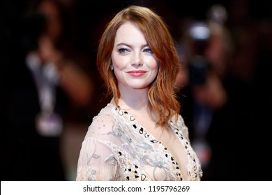VENICE, ITALY - AUGUST 30: Emma Stone walks the red carpet of the movie 'The Favourite' during the 75th Venice Film Festival on August 30, 2018 in Venice, Italy.