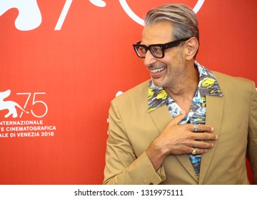 VENICE, ITALY - AUGUST 30: Jeff Goldblum attends a photocall for the film 'The Mountain' presented in competition on August 30, 2018 during the 75th Venice Film Festival at Venice
