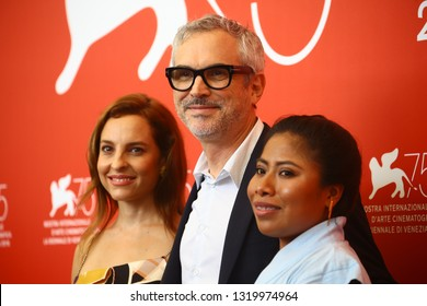 VENICE, ITALY - AUGUST 30: Marina de Tavira, Alfonso Cuaron and Yalitza Aparicio attends 'Roma' photocall during the 75th Venice Film Festival at Sala Casino on August 30, 2018 in Venice, Italy.