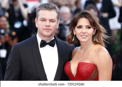VENICE, ITALY - AUGUST 30: Matt Damon and Luciana Barroso attend the premiere of the movie 'Downsizing' during the 74th Venice Film Festival on August 30, 2017 in Venice, Italy.