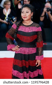 VENICE, ITALY - AUGUST 30: Yalitza Aparicio walks the red carpet of the movie 'Roma' during the 75th Venice Film Festival on August 30, 2018 in Venice, Italy
