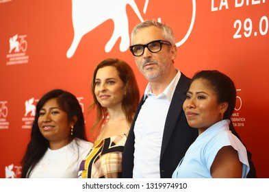 VENICE, ITALY - AUGUST 30:Nancy Garcia Garcia, Marina de Tavira, Alfonso Cuaron and Yalitza Aparicio attends 'Roma' photocall during the 75th Venice Film Festival on August 30, 2018