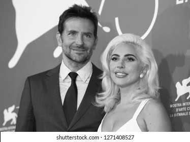 VENICE, ITALY - AUGUST 31: Bradley Cooper and Lady Gaga attend 'A Star Is Born' photocall during the 75th Venice Film Festival at Sala Casino on August 31, 2018 in Venice, Italy
