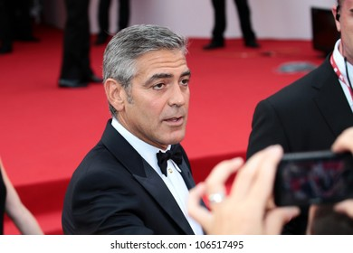 VENICE, ITALY - AUGUST 31: George Clooney during the ' Ides of March ' red carpet at the Palazzo Del Cinema during the 68th Venice Film Festival on August 31, 2011 in Venice, Italy.