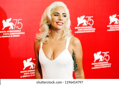 VENICE, ITALY - AUGUST 31: Lady Gaga attends the photo-call of the movie 'A Star Is Born' during the 75th Venice Film Festival on August 31, 2018 in Venice, Italy.