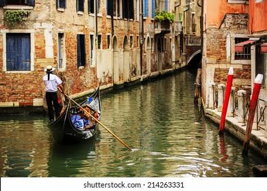 Venice, Italy - Venice Canal and gondolas