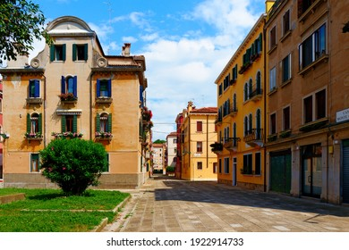 Venice, Italy, Castello. A detail of Monte Grappa square on a hot summer day. No people, heat and a perfect time for a walking tour.