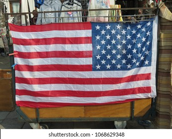VENICE, ITALY - CIRCA MARCH 2018: the American national flag for sale in Venice