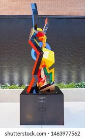 VENICE, ITALY - CIRCA MAY, 2019: sculpture seen at Venice Marco Polo Airport.