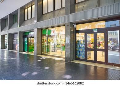 VENICE, ITALY - CIRCA MAY, 2019: entrance to a supermarket in Venice, Italy.