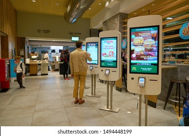 VENICE, ITALY - CIRCA MAY, 2019: self service kiosk inside McDonald's restaurant in Venice..