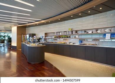 VENICE, ITALY - CIRCA MAY, 2019: interior shot of Marco Polo Club Lounge in Venice.
